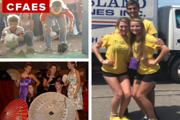 collage of 4-H images; upper left - two kids showing poultry, lower left - 5 teens at camp, right - 3 teens standing together.