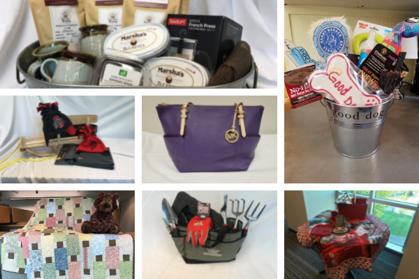 Collage of photos: top (left to right) - basket with coffee, mugs, candy buckeyes, and a French press; bucket with dog treats and toys. Middle - sled, winter hats, and scarf; purple Michael Kors bag. Bottom - quilt with pastels and brown with a teddy bear; garden tote with tools and utility gloves; tailgating quilt with a picnic basket.