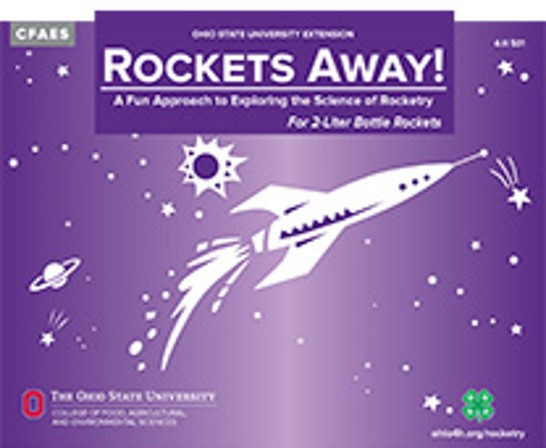 Cover of Rockets Away! for 2-liter bottle rockets showing a hand-drawn rocket in purple space with hand-drawn planets and stars