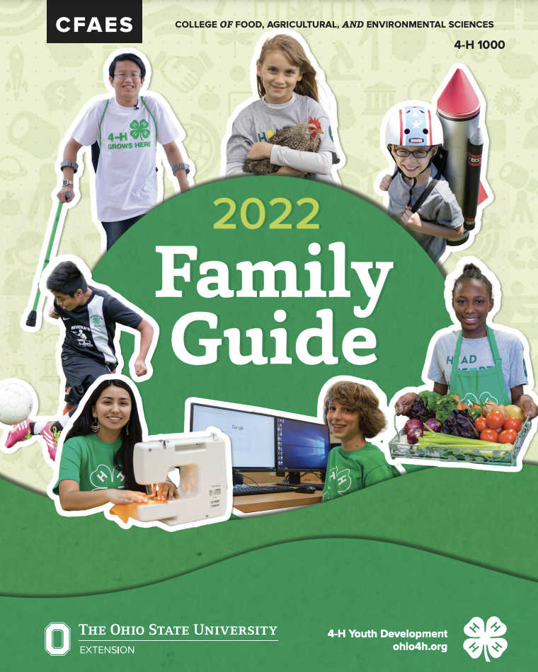 Cover of 2022 4-H Family Guide with kids showing projects
