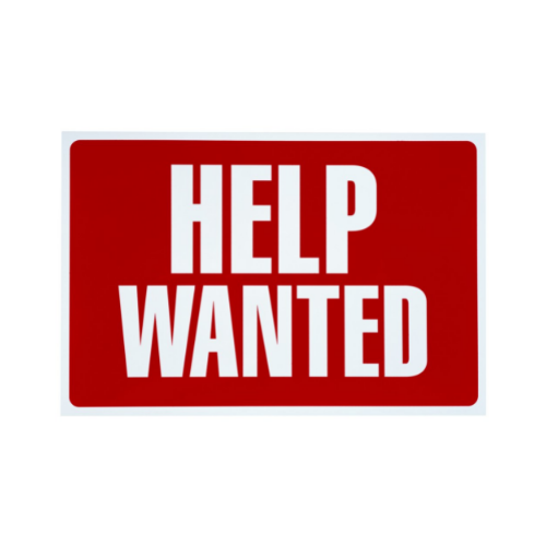 Red sign with white letters: Help Wanted