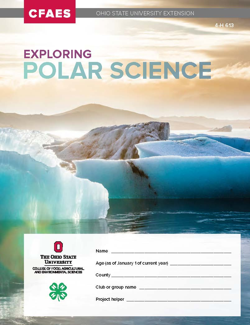 Cover of Ohio 4-H project books called Exploring Polar Science. Sea ice and water against a brilliant low sun are shown.