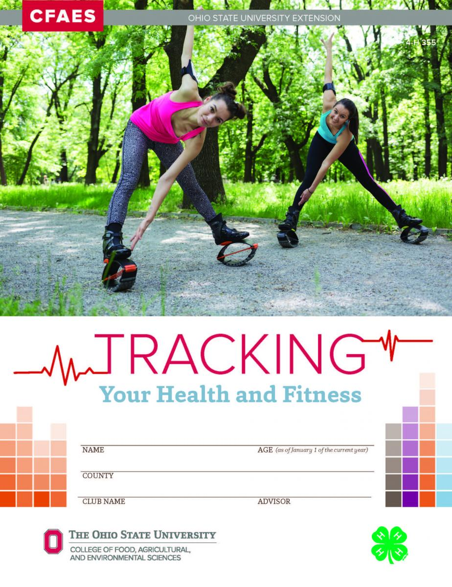 Cover of Ohio 4-H project book called Tracking Your Health and Fitness. Two young women wearing bouncy shoes are shown.