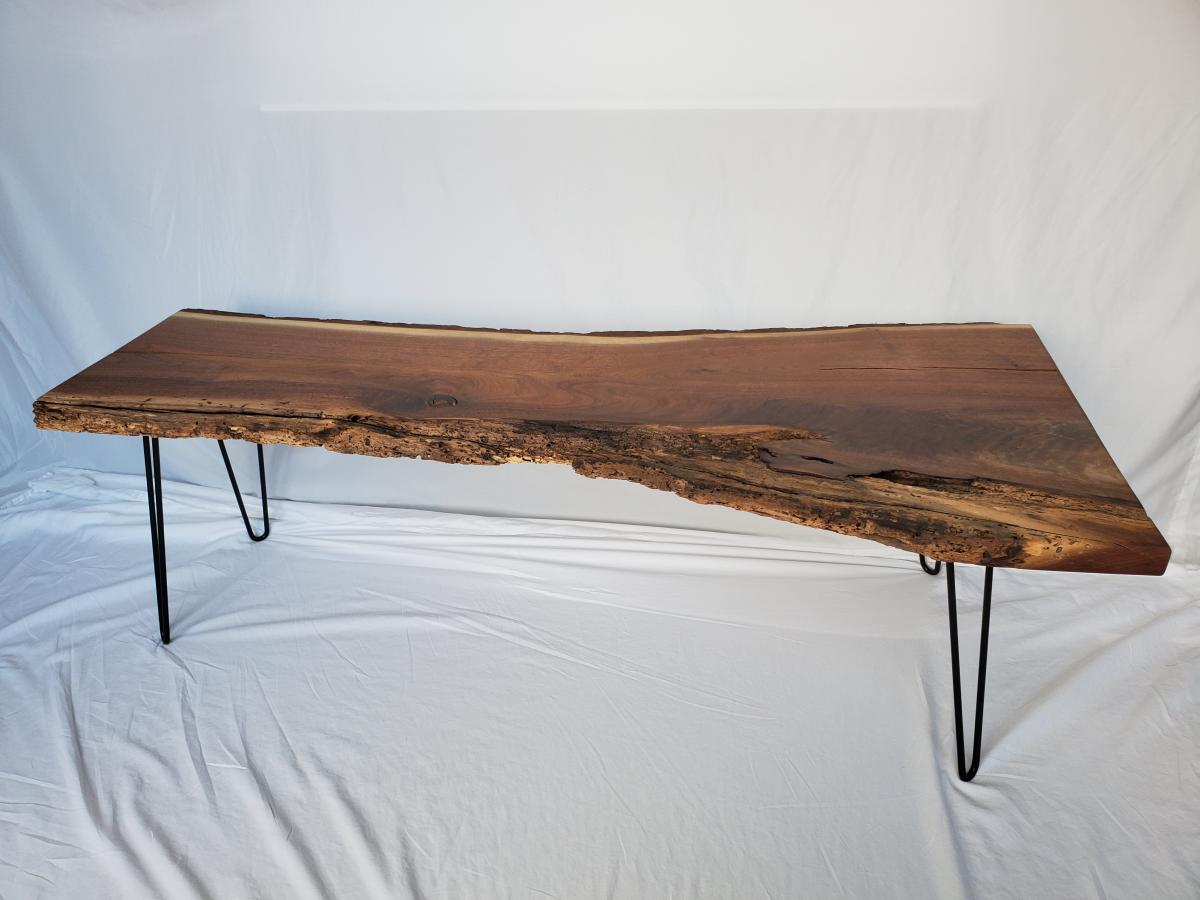 live-edge wood bench