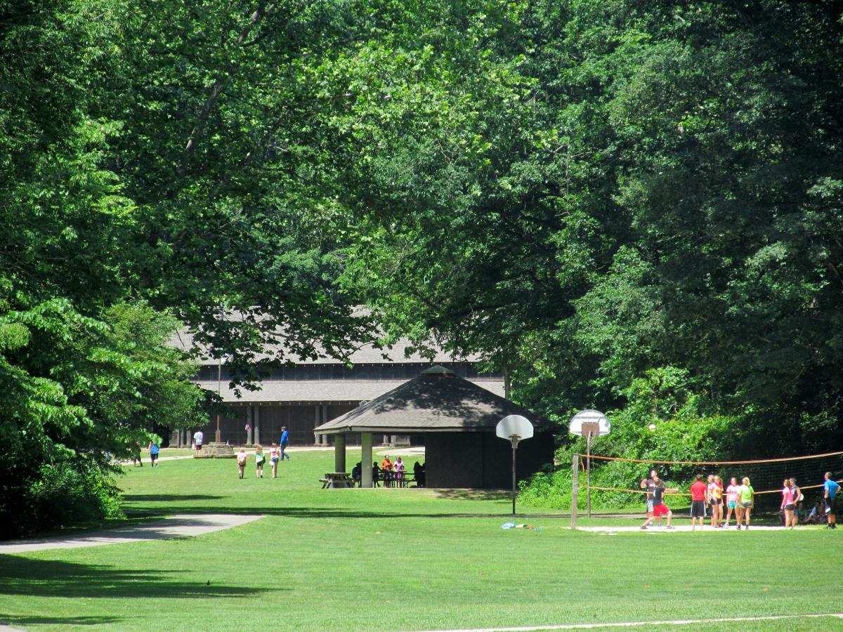 A view of the main activity area at Tar Hollow. Kids can be seen in the distance.