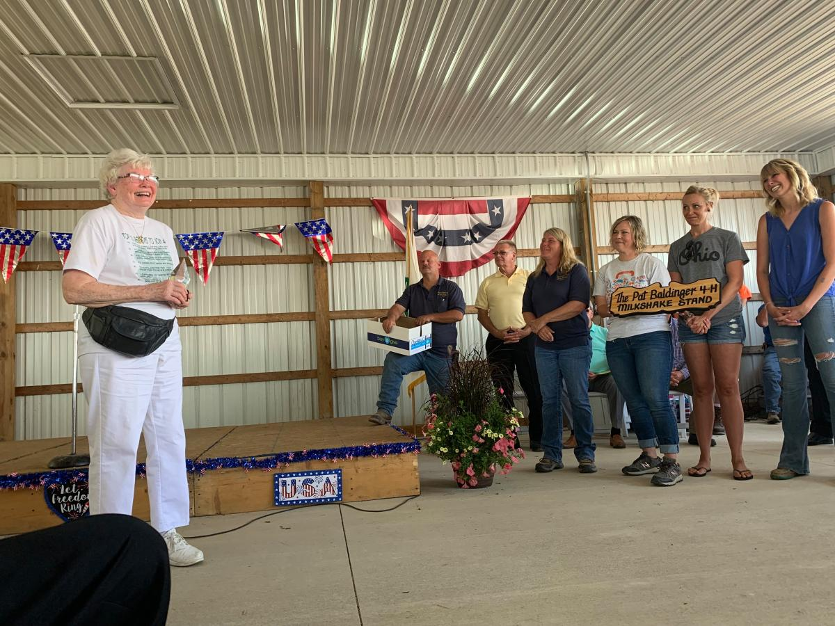 Pat Baldiner being honored at the Marion County Fair.