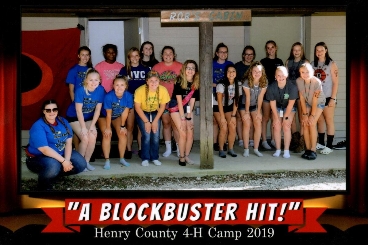 Group photo from 2019 Henry County 4-H Camp.