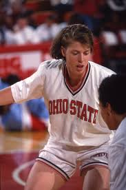 Katie Smith playing basketball for Ohio State.