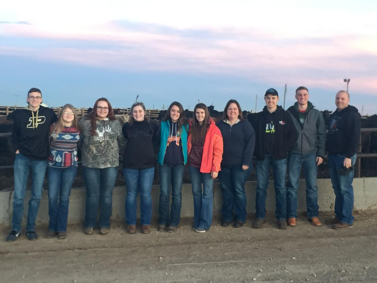 Left to Right: Bryce Schott of Morrow County; Taylor Rush of Morrow County; Kayla Carlyle of Morrow County; Mackenzie Grandstaff of Morrow County; Cassidy Small of Knox County; Ellie Kidwell of Knox County; Amanda Forquer, Morrow County 4-H Educator; Colton Boyer of Richland County; Ethan Staley of Knox County; and Adam Staley of Knox County, 4-H Livestock Judging Coach.