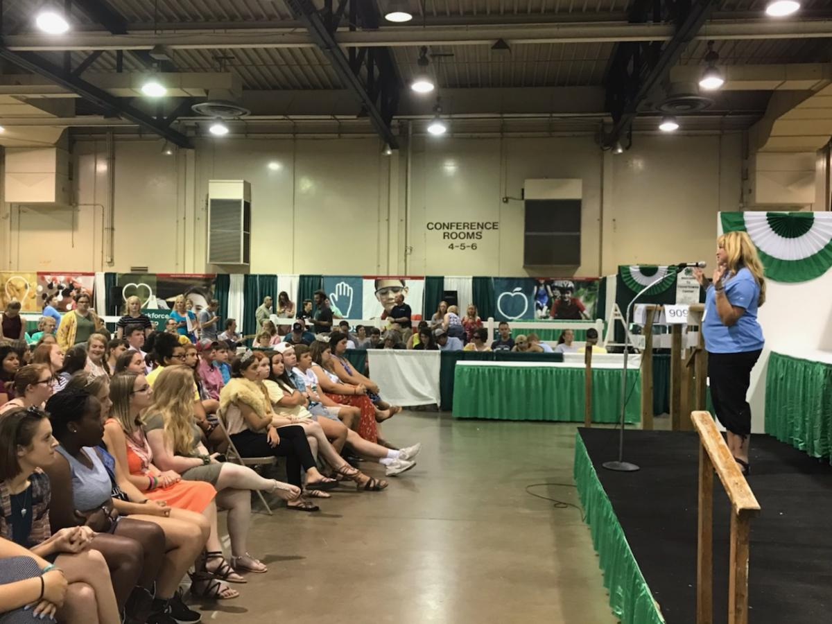 Angela speaking to Leadership Day participants at the 2019 Ohio State Fair.