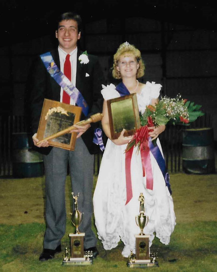 Lisa (right) being crowned the 1986 Geagua County Fair Queen.