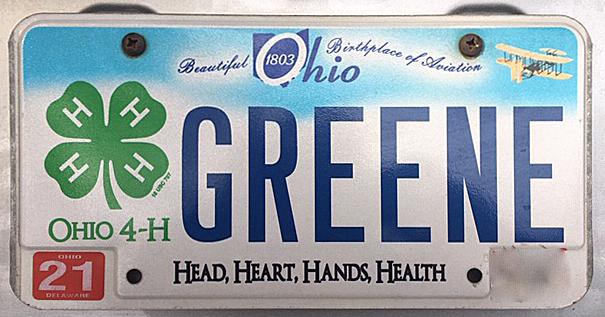 """Lynn Elfner's 4-H license plate reading """"Greene."""""""