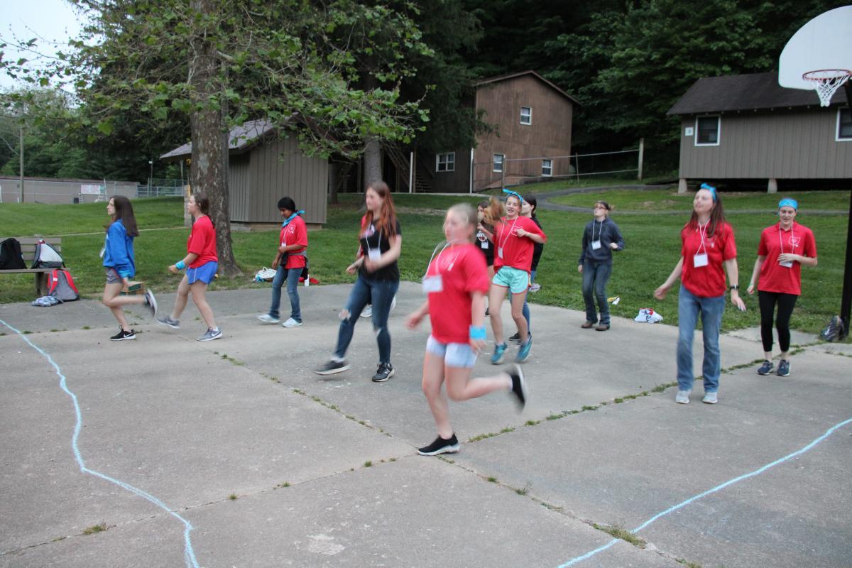 Ohio 4-H leadership campers line dancing.