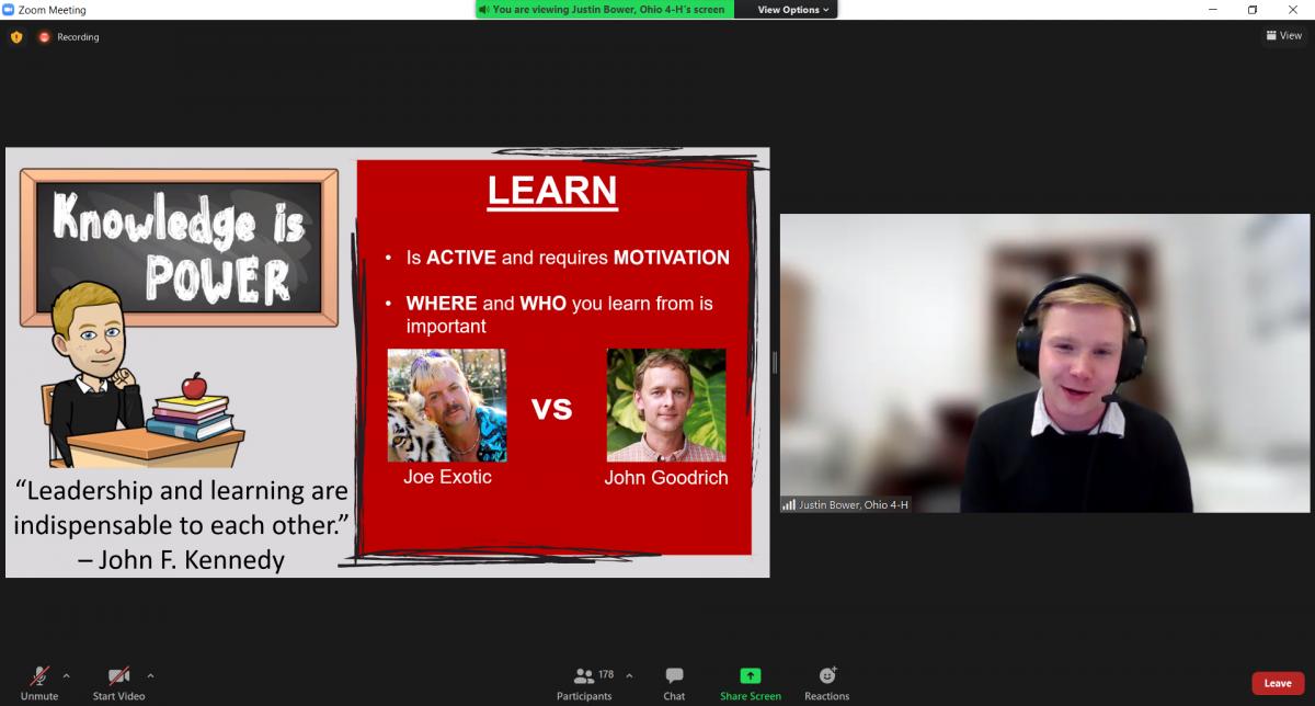 A young man giving a presentation via Zoom.