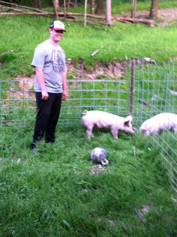 Joe with his hogs.