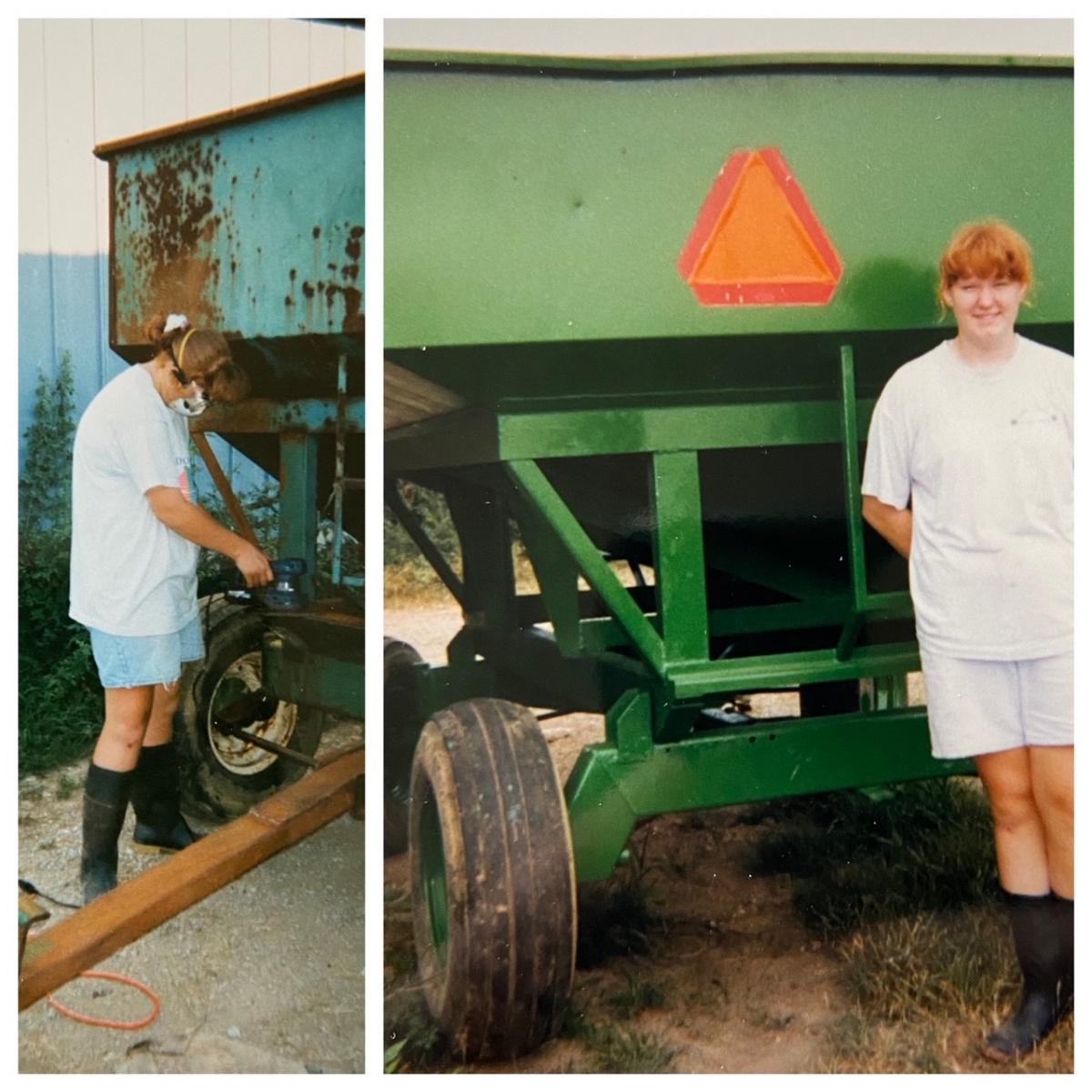 Photo 1) A teenage female using power tools on a gravity wagon. Photo 2) A teenage girl smiling at the camera in front of a refurbished gravity wagon.