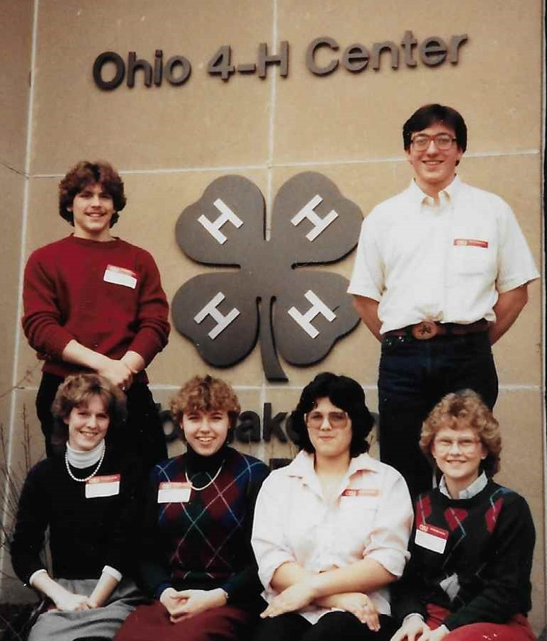 Lisa and five others in front of the Ohio 4-H Center at State 4-H Ambassador Training in 1984.