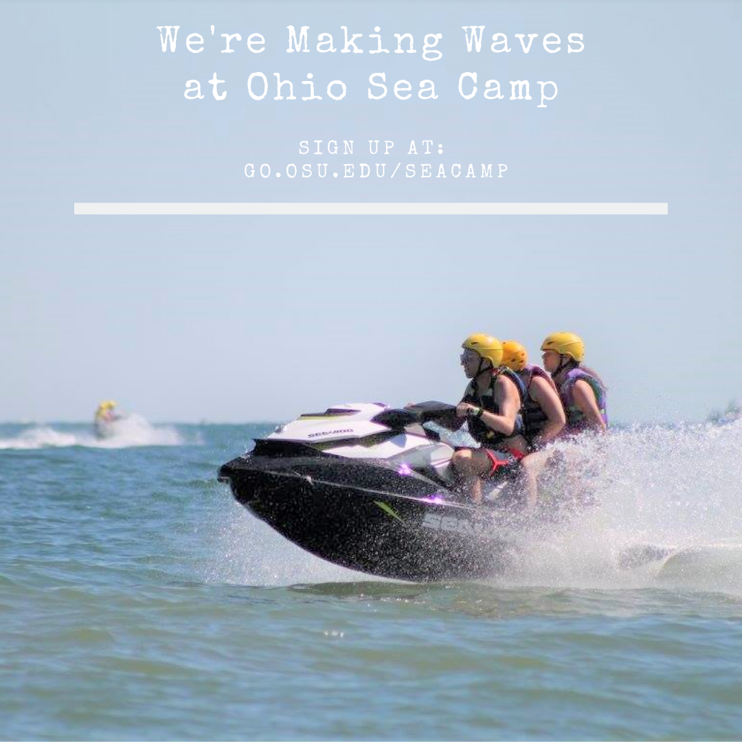 """Three youth on a jet ski. Text printed on the sky portion says """"We're making waves at Ohio Sea Camp"""" sign up at go.osu.edu/seacamp"""