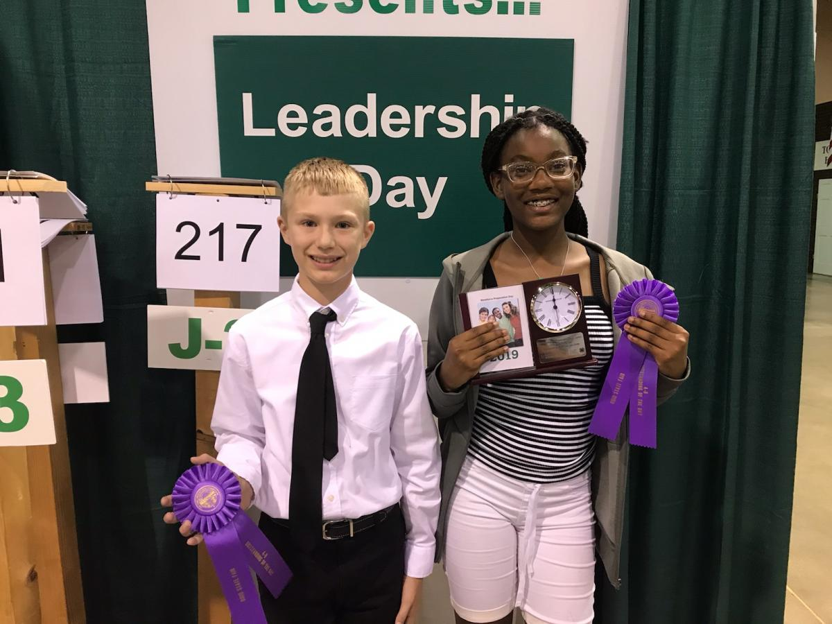 Chase Hamilton, Fairfield County, and Gabrielle Sheppard, Adventure Central, won Outstanding of the Day awards for Workforce Prep, Junior.