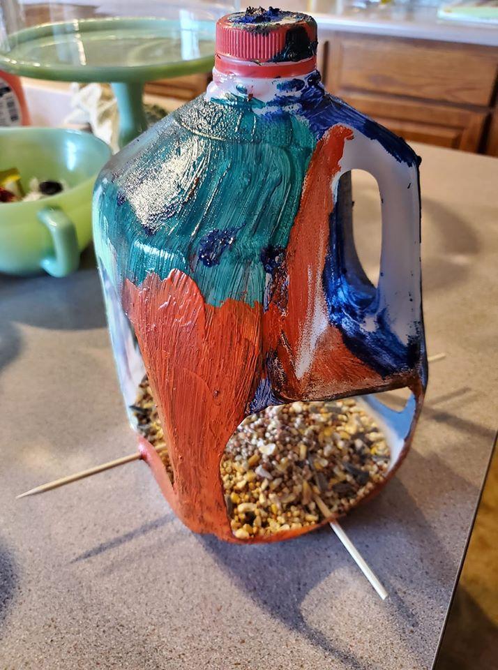 A bird feeder made by a Scioto County 4-H member.