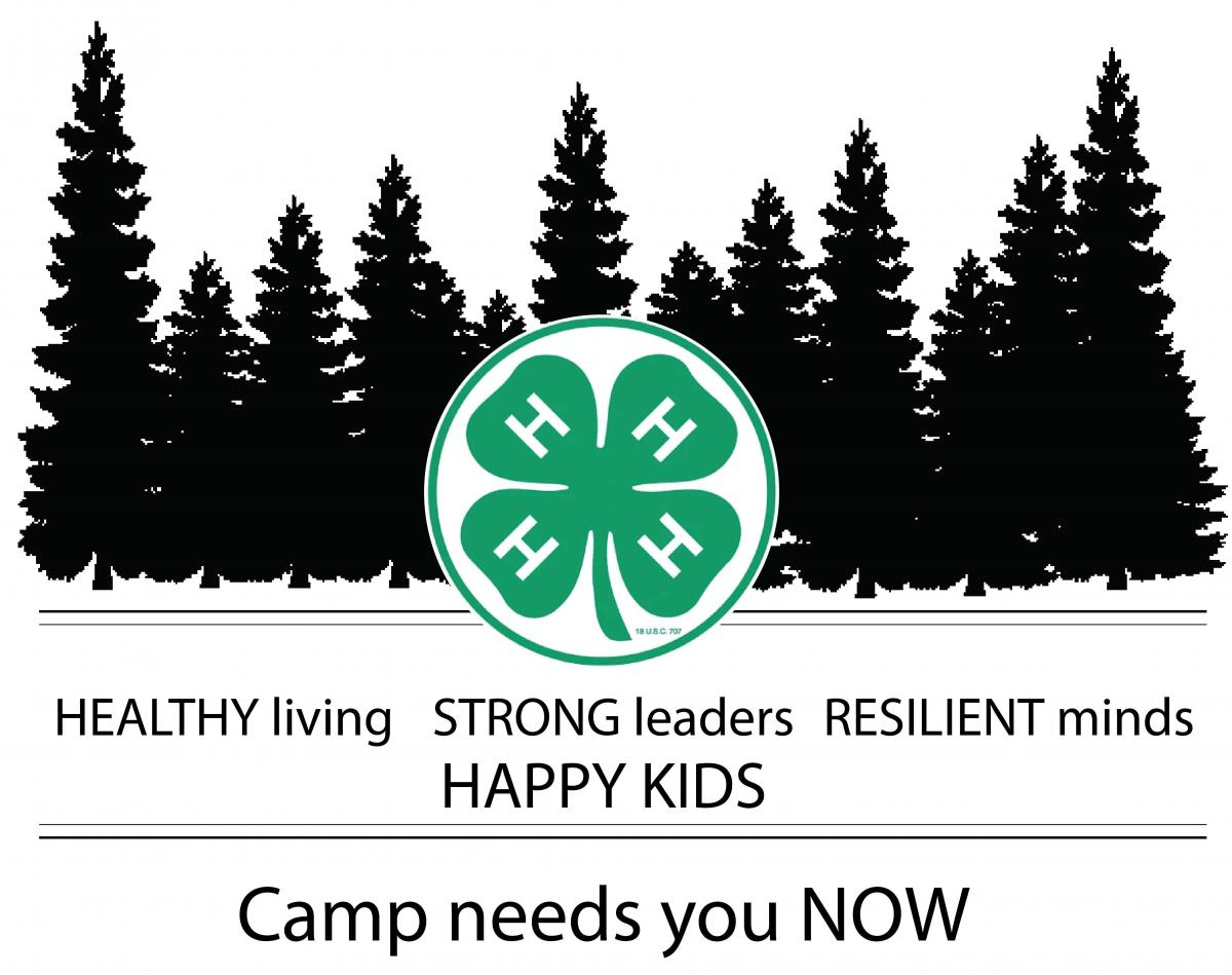 "Tree line with 4-H clover in front. Text ""Healthy living, strong leaders, resilient minds. Happy Kids. Camp needs you NOW."""