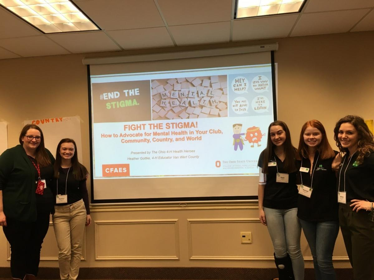 "Ohio 4-H Health Heroes presenting on ""Fight the Stigma: How to Advocate for Mental Health in Your Club, Community, Country, and World"""