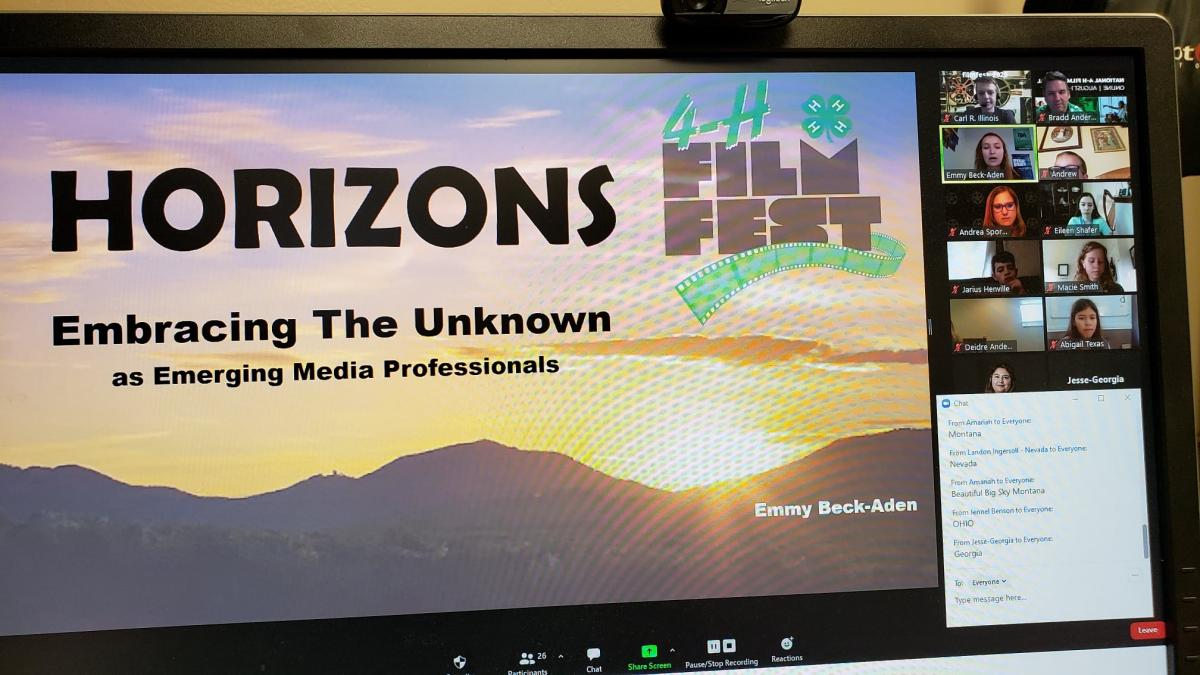 A computer screen with Emmy's presentation for the 2020 FilmFest 4-H.