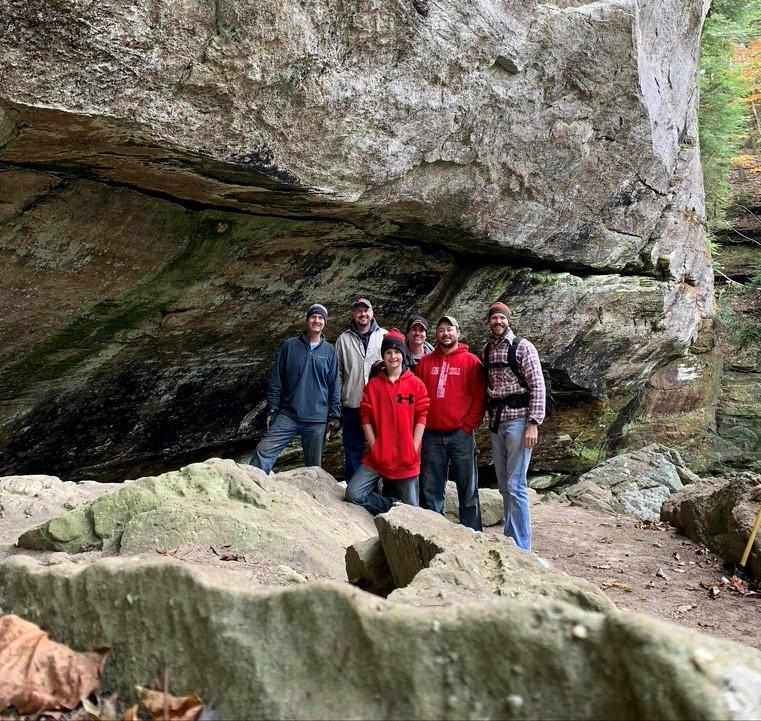 Left to right: Raymond Friend, Jason Ross, Larkin Friend, Christopher Smalley, Josh Ross, and Michael Samples at Black Rock Falls, Canter's Cave 4-H Camp for a work-day, November 2019