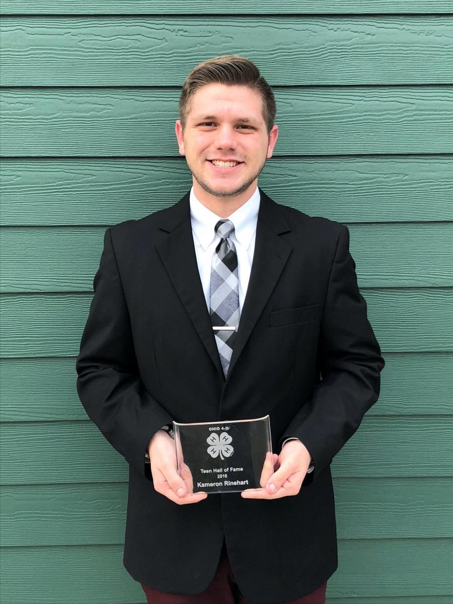 Kameron with his Teen Hall of Fame award.