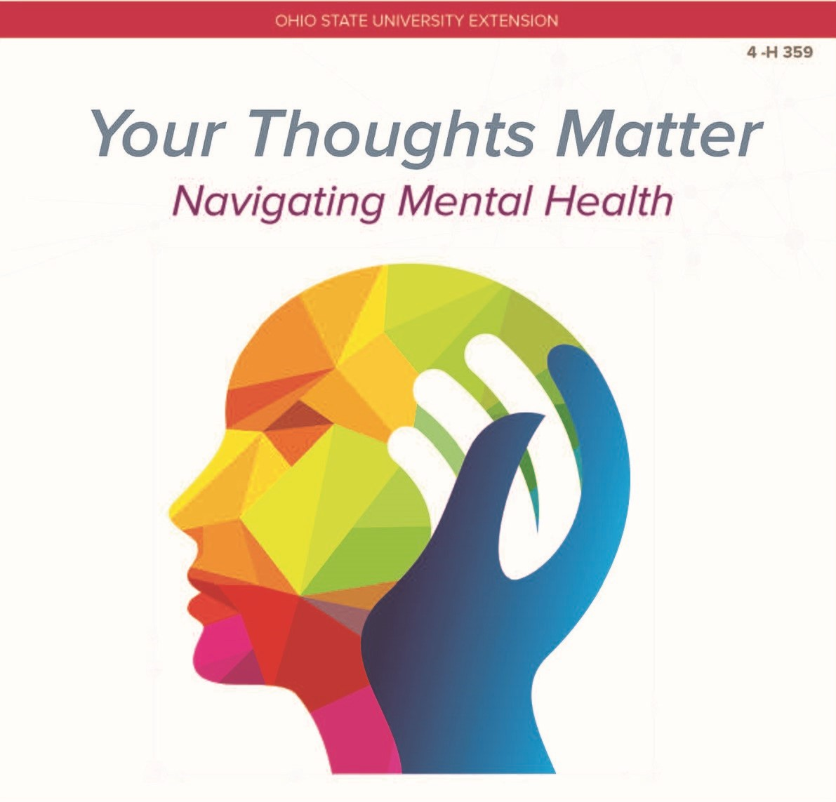 Your Thoughts Matter Navigating Mental Health with rainbow graphic of head from side profile
