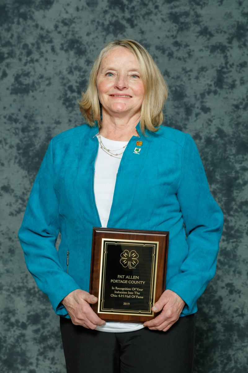 Pat Allen As a 24-year 4-H volunteer, Pat contributed countless time and energy to uphold 4-H values in her 4-H club, community and state. She encourages youth to achieve and spread beyond local club involvement by participating in county and state camps and activities. Pat has been an active member of the Ohio 4-H Master Clothing Educator Program for over 20 years. The knowledge and skills she gains at workshops are brought back to her club and county to enhance the 4-H program. She has served on the Portage County Advisory Committee for 10 years, serving as president for 2 of those years. Pat has also touched the lives of countless youth as a 4-H clothing judge at many county fairs as well as the state fair. Pat's attendance at local 4-H functions and meetings demonstrates her commitment to the 4-H program. She has the conviction to make our youth better citizens by helping them make a better place to live in our community.