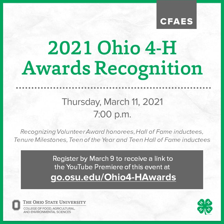 information about registering for the 2021 Ohio 4-H Awards Program