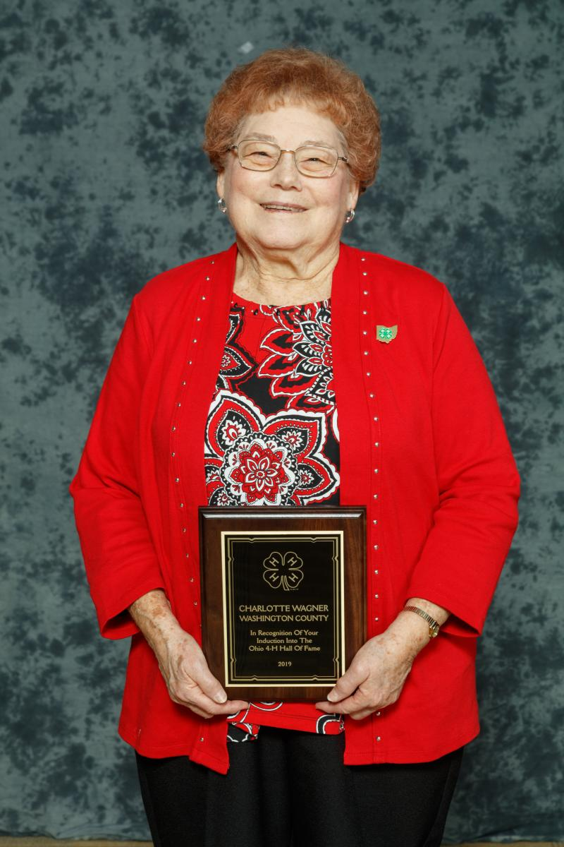 Charlotte Wagner  Charlotte has been an active volunteer with the Washington County 4-H program for 72 years. She is currently the longest serving Ohio 4-H volunteer. Charlotte currently serves as the president of the Washington County 4-H Advisory Committee. As the president she has a vision for the county-wide program to be progressive and meet the needs of today's youth.  Her lifelong dedication to 4-H is evident as she continues to serve as the organizational advisor for her club. She continues to blaze the trail for other 4-H volunteers by handling all of her club's details, paperwork, club meetings and community service projects.  She plans an annual achievement recognition for club members as well as attending the annual county 4-H Achievement Night to support her members and cheer-on the award winners.  Charlotte recently recruited a 4-H alumni of her club to become involved as a new volunteer and oversee the Cloverbuds in the club. It is important for her that 4-H learning doesn't end when a member is too old for 4-H membership.
