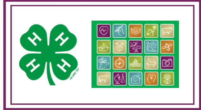 4-H clover with icons representing 4-H projects
