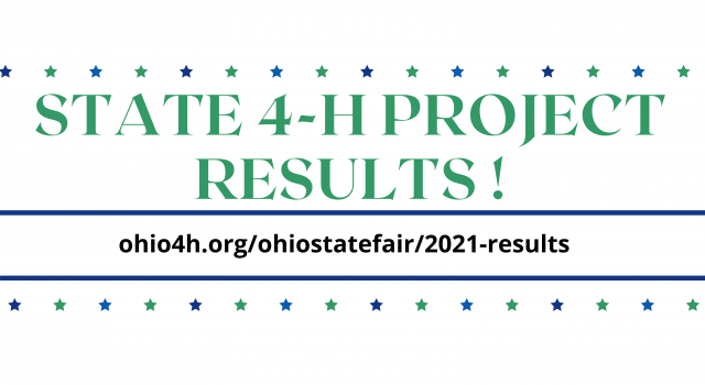 State 4-H Project Judging Results with blue and green stars