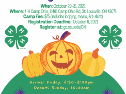 3 pumpkins and 2 4-H clovers with details about registering for CNI camp