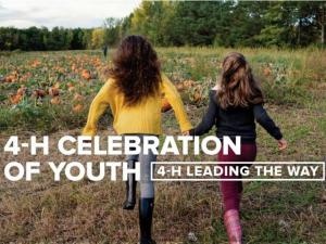 """Two girls running toward a pumpkin patch. Text says """"4-H Celebration of Youth - 4-H Leading the Way."""""""