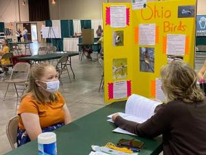 A 4-H member being interviewed at the Ohio State Fair.