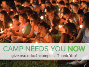 "Children at camp holding candles. Text says ""Camp Needs You Now. give.osu.edu/4hcamps. Thank You!"""
