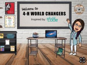 "Bitmoji classroom - girl bitmoji on the right waving, there is a desk in the middle with a computer and plant, the white board says ""welcome to 4-H world changers inspired by girls who code,"" there is a Brutus Buckeye poster on the wall on the left, a poster that says ""STEM' below the Brutus poster, and a bookshelf with 4-H project books."