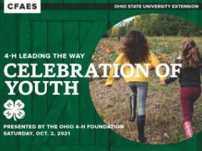 4-H Leading the Way Celebration of Youth; 4-H Clover; Presented by the Ohio 4-H Foundation Saturday, Oct. 2, 2021; two girls running toward a pumpkin patch