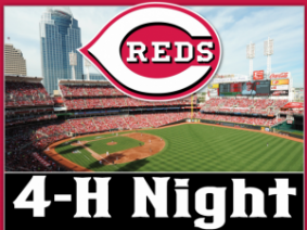 """Photo of Great American Ball Park with Reds logo. Text says """"4-H Night"""""""
