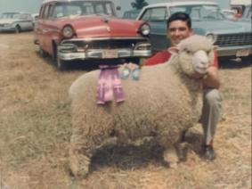 Bob with a sheep at the 1961 Hartford Fair.