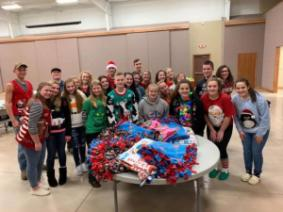 Perry County Junior Leaders with the blankets they made to donate to Nationwide Children's Hospital.